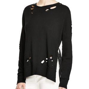Pam & Gela Side Slit Destroyed Black Sweatshirt